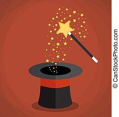 stars., magia, scintille, bacchetta, cappello