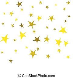 stars., mignon, doré, main, dessiné