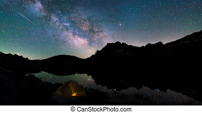 Stars, Milky Way Galaxy over lake and Camp Tent in mountains