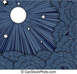 Stars Moonlight Clouds Background