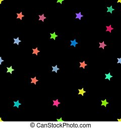 stars multicolor seamless pattern wallpaper with black background vector illustrations