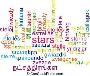 Stars multilanguage wordcloud background concept