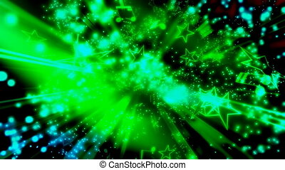 Stars Music Notes Particles Green
