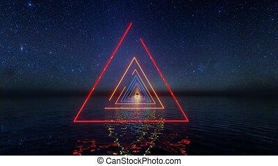 stars., néon, partie., été, lumières, invitation, avenir, flare., aviateur, bannière, résumé, 80s