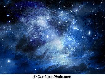 galaxy in a free space - Stars of a planet and galaxy in a ...