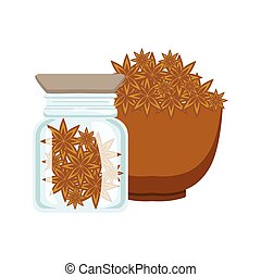 Stars of anise in a brown bowl and glass jar, colorful cartoon illustration