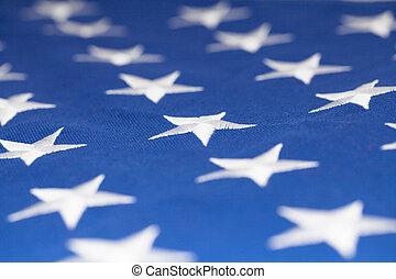 Stars on flag of United States of America - closeup studio...