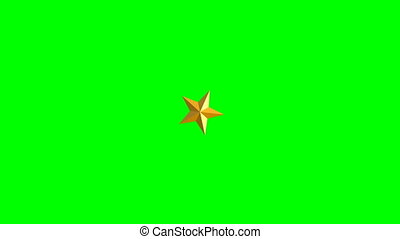 stars on green background. Isolated 3D render