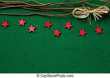 Stars on green felt background