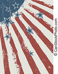 Stars on scratched american flag texture. Vector