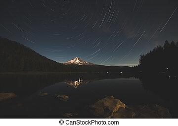Stars Over Mountain Peak at Dusk