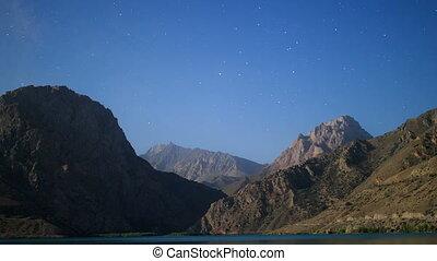 Stars over the mountains. Panorama. Iskander-Kul. Tajikistan. Time Lapse