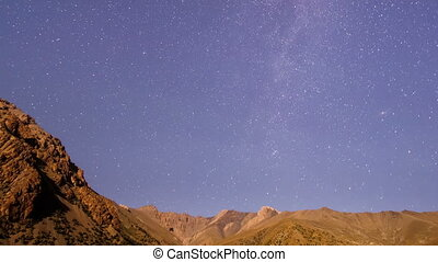 Stars over the mountains. Time Lapse