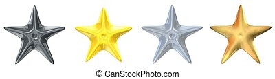 stars ranking - 3d rendered platinum, gold, silver and brass...