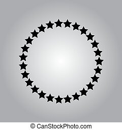 Stars rounded icon in a flat design in black color