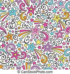 Stars Seamless Pattern Vector - Stars and Swirls Seamless...
