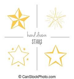 stars., set, disegnato, giallo, mano