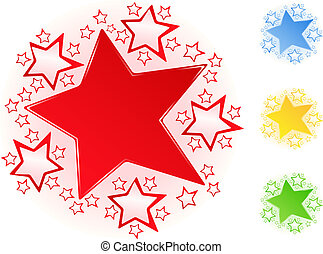 Stars - Set of vector bright stars