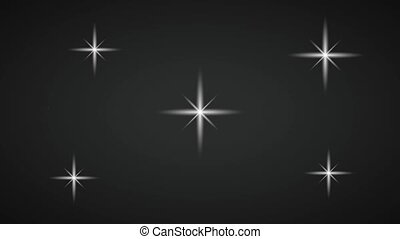 Stars shining over black background HD animation