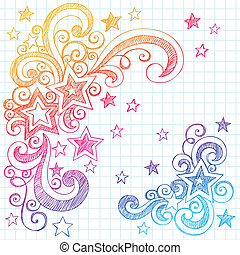 Stars Sketchy Doodle Design Element - Shooting Stars and...