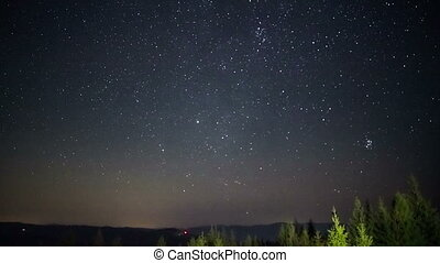 Stars Sky Turning Space Astrophotography Time Lapse....