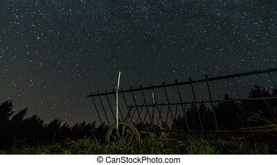 Stars sky with milky way over horse cart time lapse dolly shot