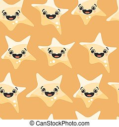 Stars smiley on yellow background. Vector seamless pattern.