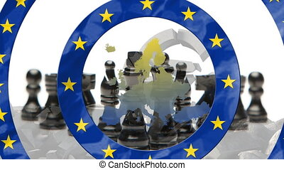 Animation of circles with European Union flag with yellow stars, map of Europe , Euro currency symbol and chess on white background. European community economy concept digitally generated image.