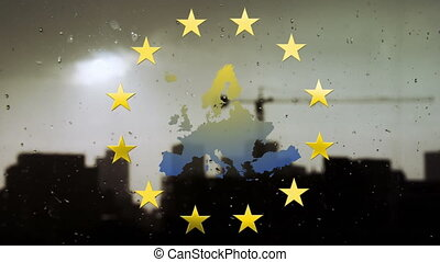 Animation of map of Europe, European Union flag with spinning yellow stars and buildings in the background. European community economy concept digitally generated image.
