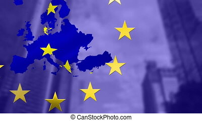 Stars spinning over EU map made of EU flag against tall ...
