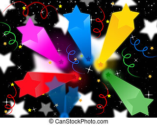 Stars Streamers Background Means Celestial Colors And Party