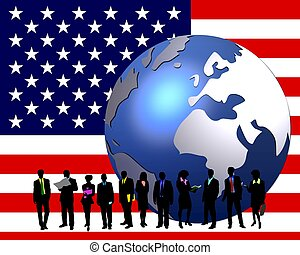stars & stripes banner business people