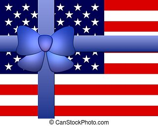 stars & stripes banner with ribbon