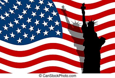 stars & stripes banner with statue of liberty