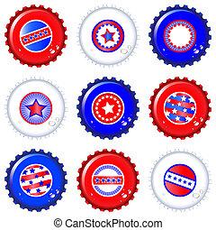 Stars & Stripes bottle caps. USA Fourth of July emblems....