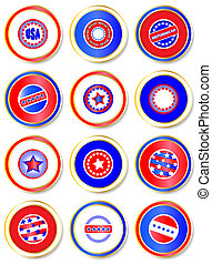 Stars & Stripes stickers. USA Fourth of July emblems. EPS10...