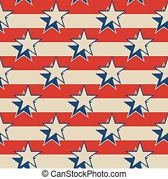 Stars stripes USA patriotic seamless background. - Retro...