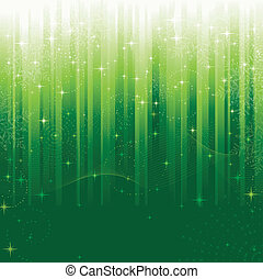 Stars, swirls, snowflakes and wavy lines on green striped background. A pattern great for festive occasions or christmas themes.