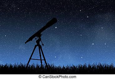 Telescope under the night sky