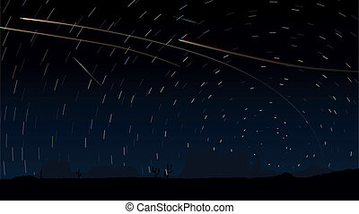 Stars trace circles on the sky. - Simple vector of stars ...