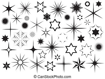Stars - Various black vector stars collection on white ...