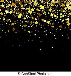 stars., vecteur, arrière-plan noir, or
