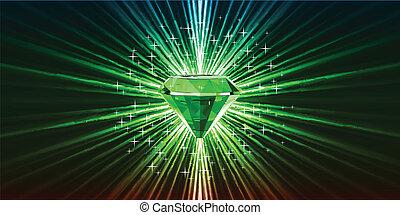 stars., vecteur, arrière-plan vert, cristal