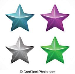 stars., vecteur, ensemble, coloré