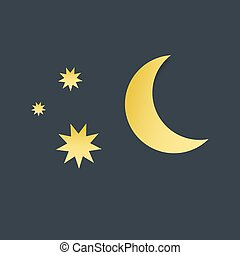 stars., vecteur, lune, paper-art