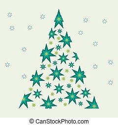 stars., vector, boompje, kerstmis, illustratie