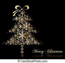 stars., vektor, träd, jul
