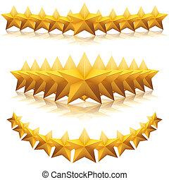 stars., vetorial, prêmio, ouro, cinco-pontudo