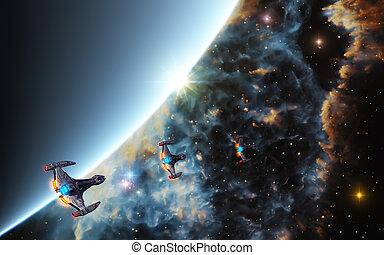 starships, in, tief, raum