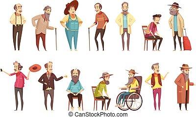 starsi mężczyźni, komplet, rysunek, ikony